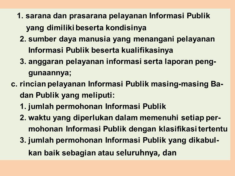 1. sarana dan prasarana pelayanan Informasi Publik yang dimiliki beserta kondisinya 2. sumber daya manusia yang menangani pelayanan Informasi Publik b
