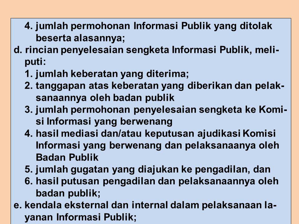 4. jumlah permohonan Informasi Publik yang ditolak beserta alasannya; d. rincian penyelesaian sengketa Informasi Publik, meli- puti: 1. jumlah keberat