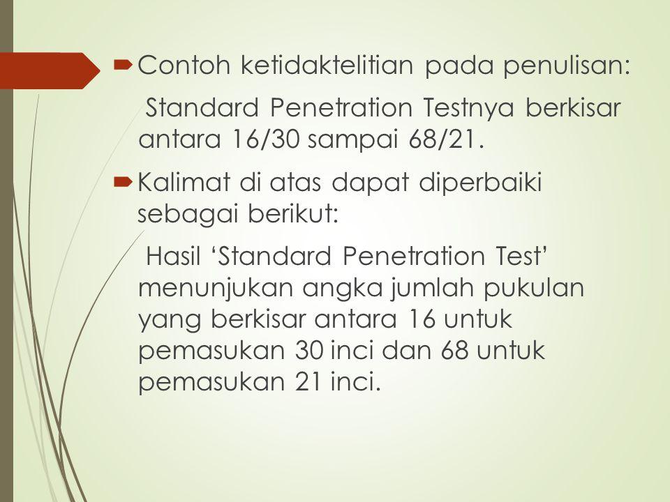  Contoh ketidaktelitian pada penulisan: Standard Penetration Testnya berkisar antara 16/30 sampai 68/21.