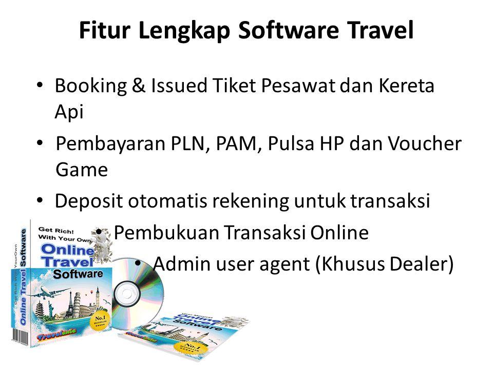 Fitur Lengkap Software Travel Booking & Issued Tiket Pesawat dan Kereta Api Pembayaran PLN, PAM, Pulsa HP dan Voucher Game Deposit otomatis rekening u