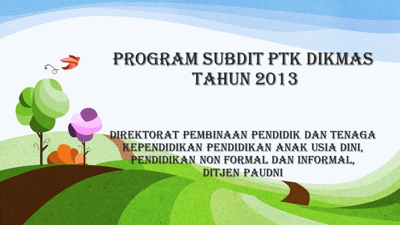 Program Subdit PTK Dikmas Tahun 2013 DirektoraT Pembinaan Pendidik dan Tenaga Kependidikan Pendidikan Anak Usia Dini, Pendidikan Non Formal dan Inform