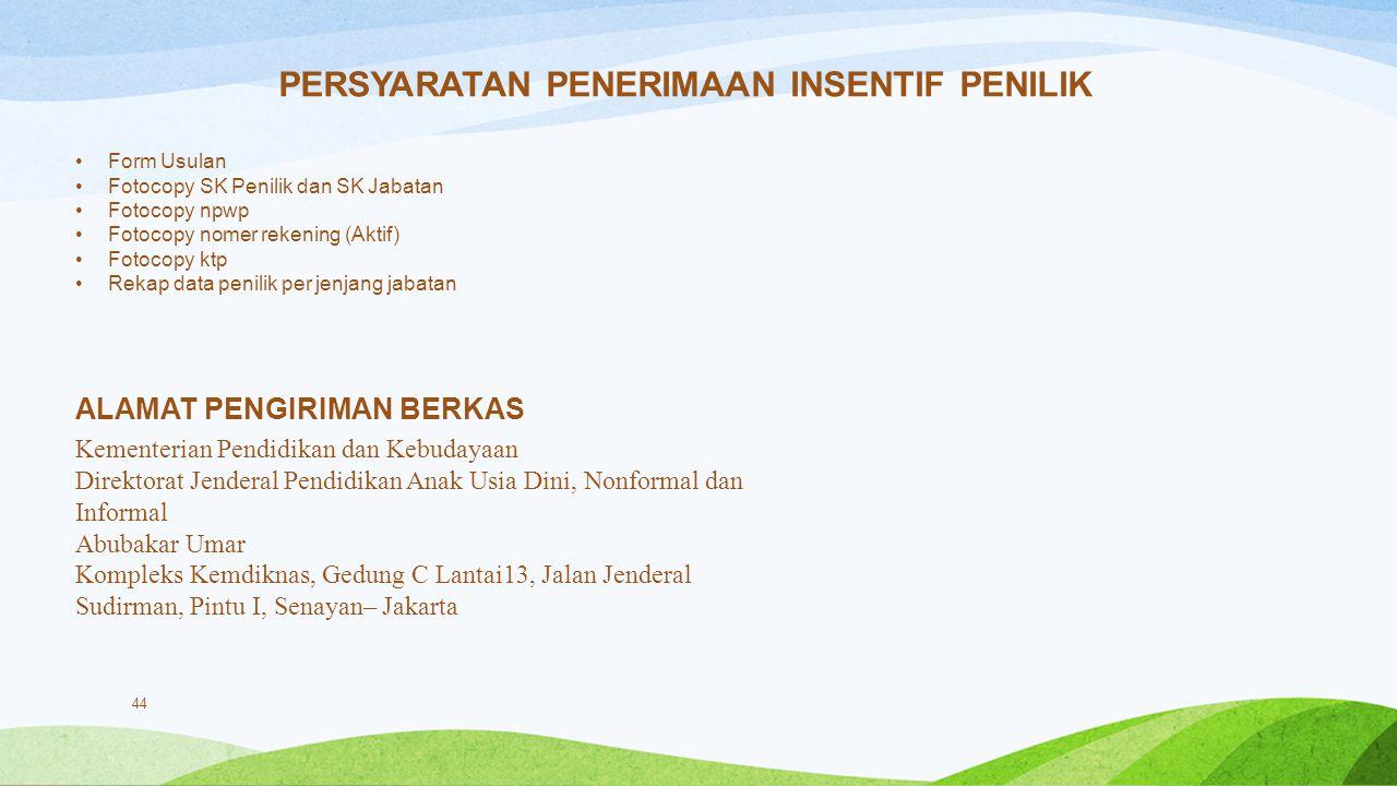 44 PERSYARATAN PENERIMAAN INSENTIF PENILIK Form Usulan Fotocopy SK Penilik dan SK Jabatan Fotocopy npwp Fotocopy nomer rekening (Aktif) Fotocopy ktp R