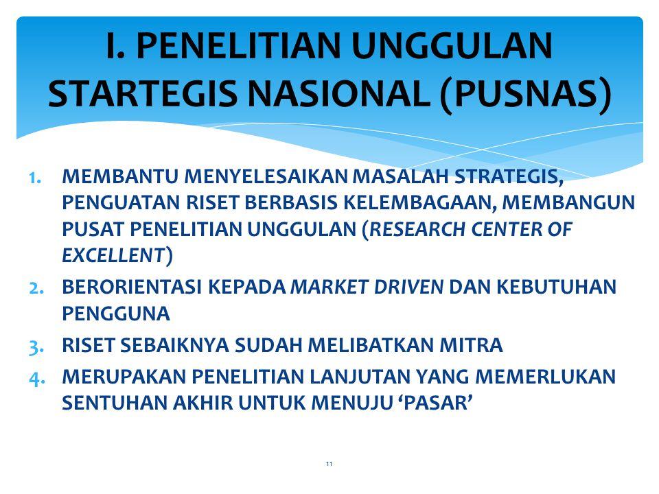 1.MEMBANTU MENYELESAIKAN MASALAH STRATEGIS, PENGUATAN RISET BERBASIS KELEMBAGAAN, MEMBANGUN PUSAT PENELITIAN UNGGULAN (RESEARCH CENTER OF EXCELLENT) 2.BERORIENTASI KEPADA MARKET DRIVEN DAN KEBUTUHAN PENGGUNA 3.RISET SEBAIKNYA SUDAH MELIBATKAN MITRA 4.MERUPAKAN PENELITIAN LANJUTAN YANG MEMERLUKAN SENTUHAN AKHIR UNTUK MENUJU 'PASAR' 11 I.