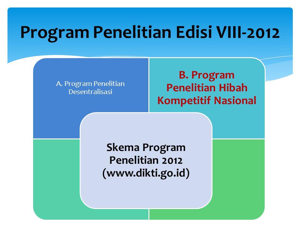 Program Penelitian Edisi VIII-2012 2 A. Program Penelitian Desentralisasi B.