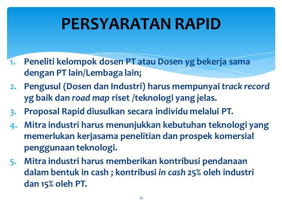 1.Peneliti kelompok dosen PT atau Dosen yg bekerja sama dengan PT lain/Lembaga lain; 2.Pengusul (Dosen dan Industri) harus mempunyai track record yg baik dan road map riset /teknologi yang jelas.