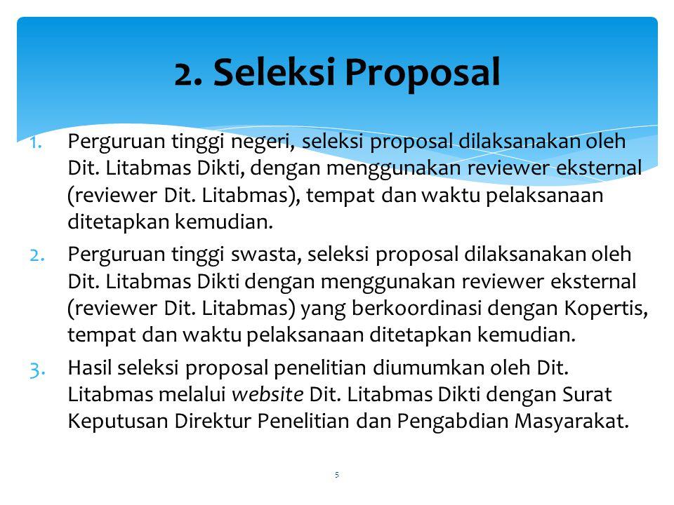 1.Perguruan tinggi negeri, seleksi proposal dilaksanakan oleh Dit.