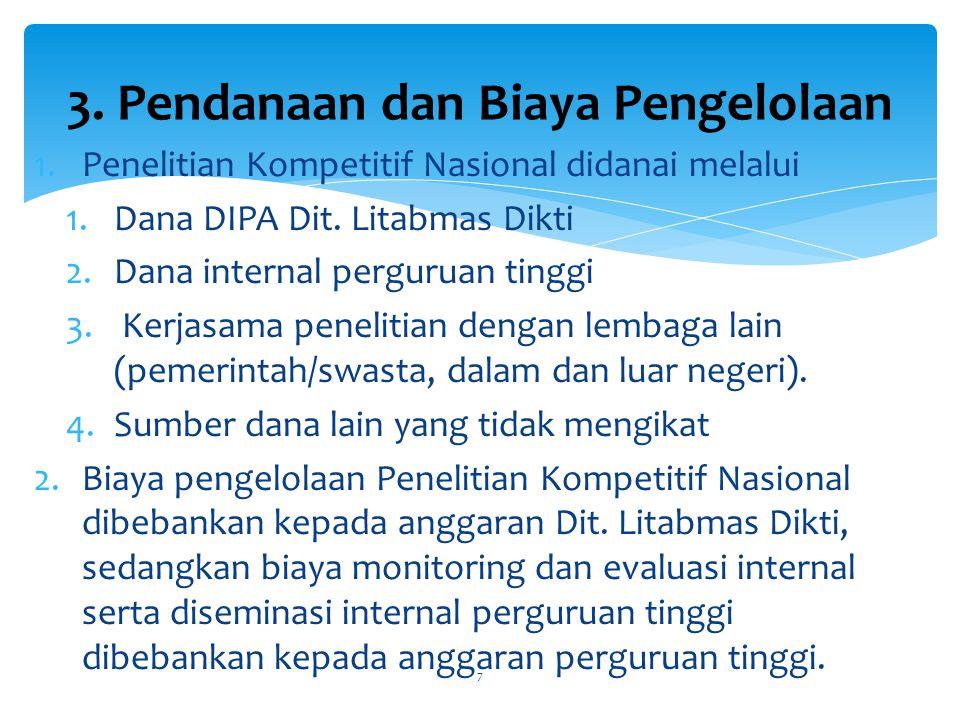 1.Monitoring dan evaluasi lapangan pelaksanaan Penelitian Kompetitif Nasional dilakukan secara internal oleh perguruan tinggi dan secara eksternal oleh Dit.