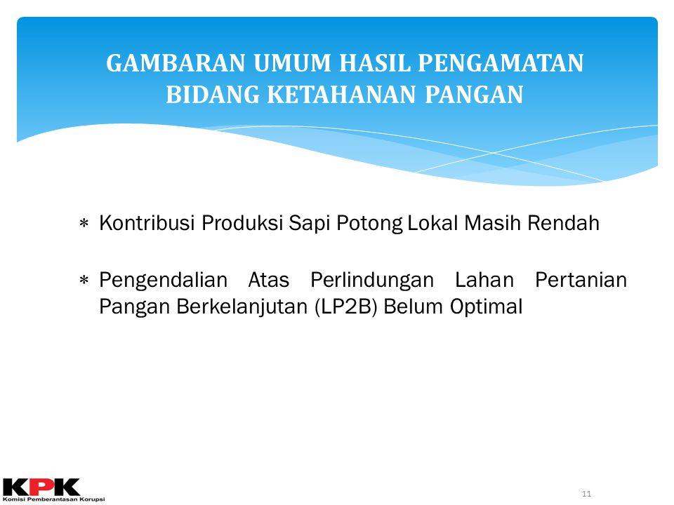 GAMBARAN UMUM HASIL PENGAMATAN BIDANG KETAHANAN PANGAN 11  Kontribusi Produksi Sapi Potong Lokal Masih Rendah  Pengendalian Atas Perlindungan Lahan