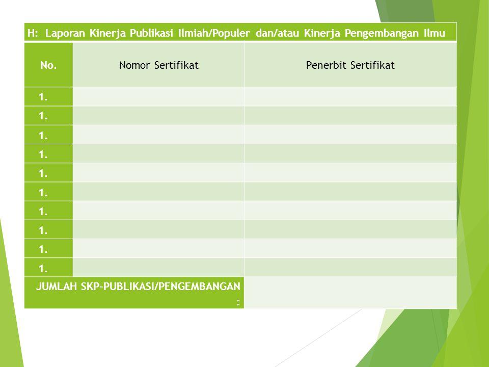H: Laporan Kinerja Publikasi Ilmiah/Populer dan/atau Kinerja Pengembangan Ilmu No.Nomor SertifikatPenerbit Sertifikat 1. JUMLAH SKP-PUBLIKASI/PENGEMBA