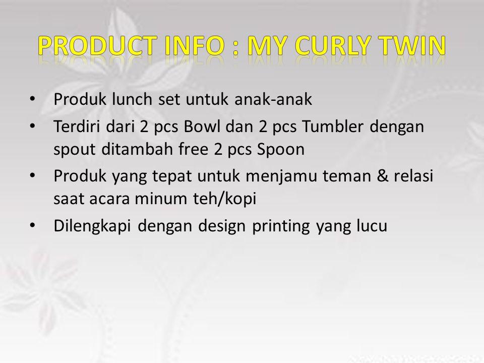 Produk lunch set untuk anak-anak Terdiri dari 2 pcs Bowl dan 2 pcs Tumbler dengan spout ditambah free 2 pcs Spoon Produk yang tepat untuk menjamu teman & relasi saat acara minum teh/kopi Dilengkapi dengan design printing yang lucu