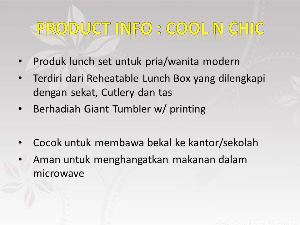 Produk lunch set untuk pria/wanita modern Terdiri dari Reheatable Lunch Box yang dilengkapi dengan sekat, Cutlery dan tas Berhadiah Giant Tumbler w/ printing Cocok untuk membawa bekal ke kantor/sekolah Aman untuk menghangatkan makanan dalam microwave