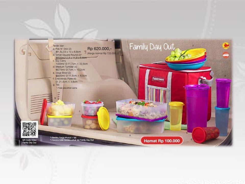 Paket lengkap untuk acara piknik keluarga Terdiri dari : - 4 pcs Tumbler - 1 Ezy Carry (wadah minum) - 4 pcs piring - 2 pcs Pak N Stor (wadah makanan) - 2 pcs Small Sq Round - 2 pcs Soup Bowl Dilengkapi dengan tas yang kokoh