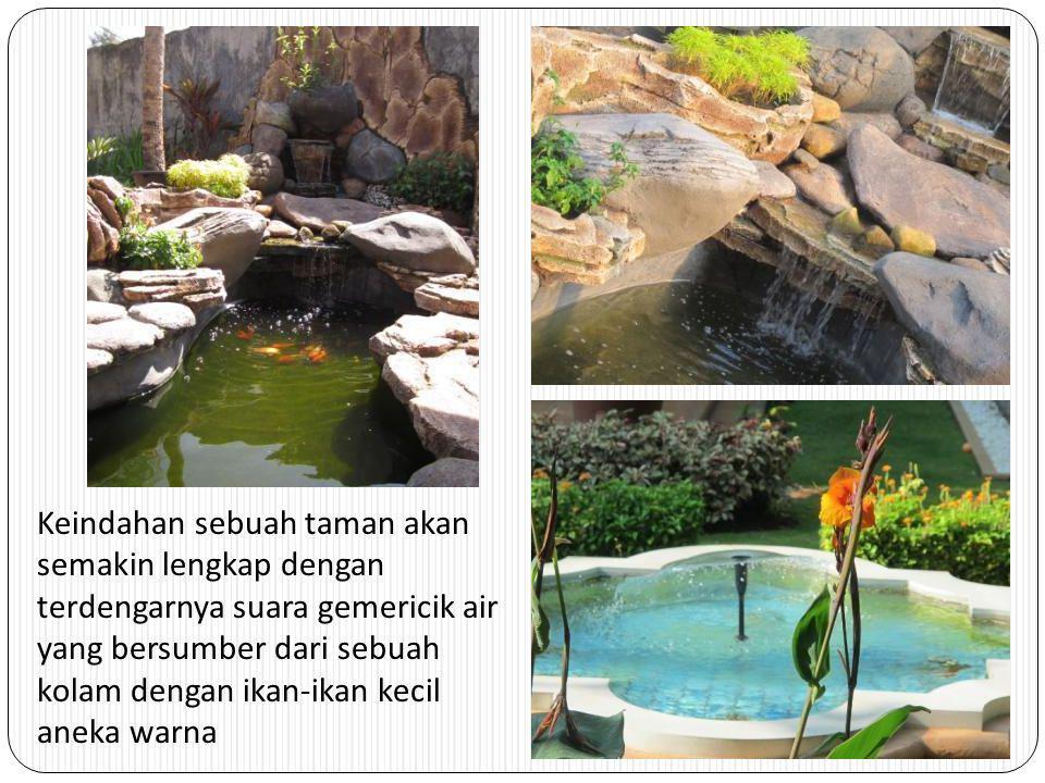 Keindahan sebuah taman akan semakin lengkap dengan terdengarnya suara gemericik air yang bersumber dari sebuah kolam dengan ikan-ikan kecil aneka warna
