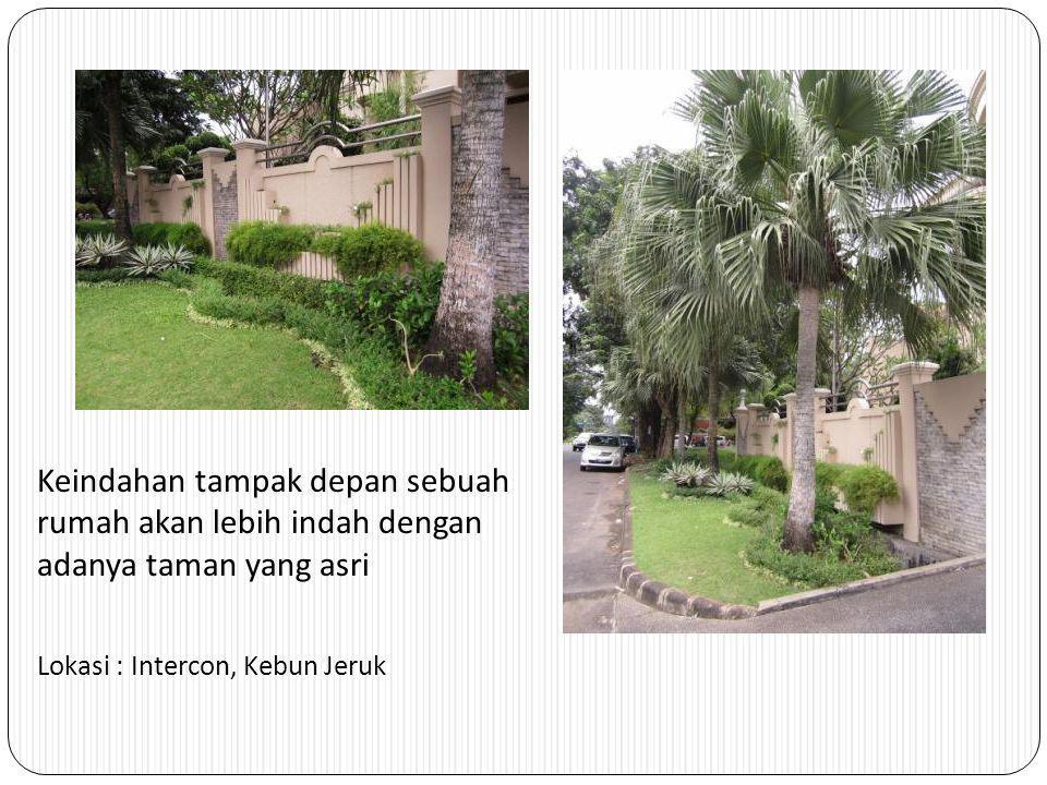 Keindahan tampak depan sebuah rumah akan lebih indah dengan adanya taman yang asri Lokasi : Intercon, Kebun Jeruk