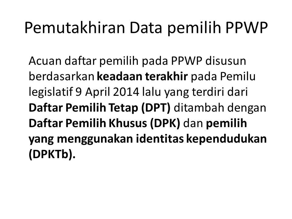 Pemutakhiran Data pemilih PPWP Acuan daftar pemilih pada PPWP disusun berdasarkan keadaan terakhir pada Pemilu legislatif 9 April 2014 lalu yang terdi