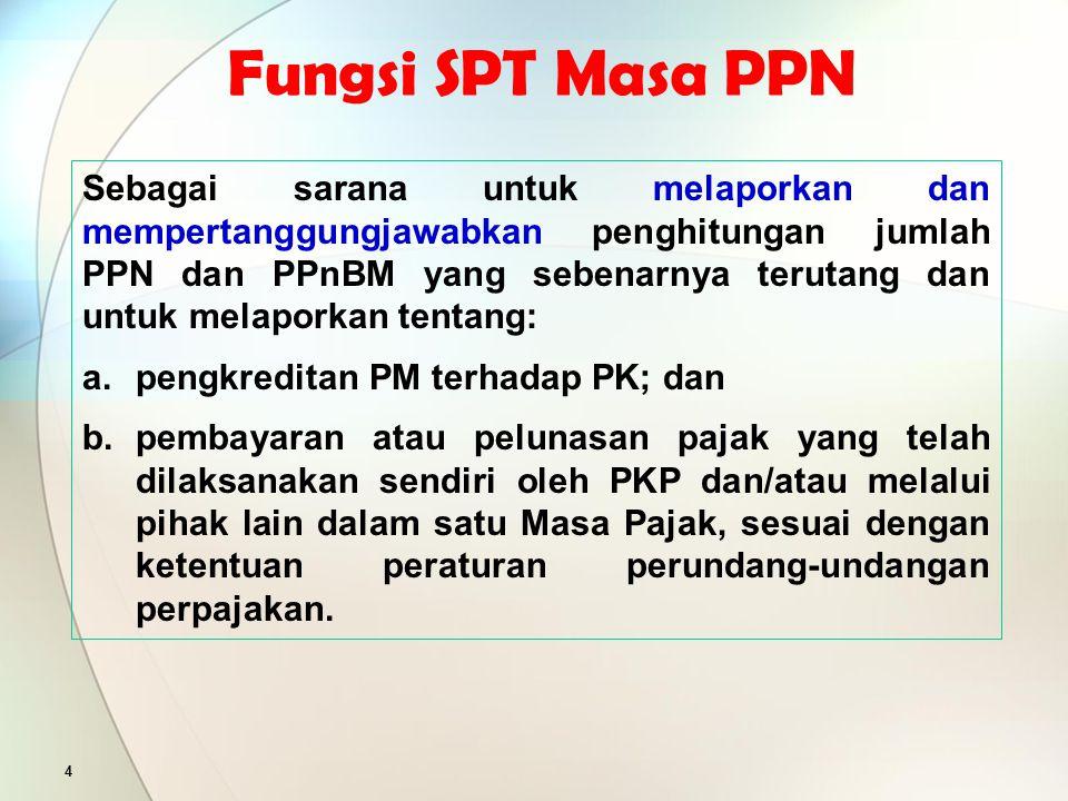 SPT 5 Mengisi SPT adalah mengisi formulir SPT, dalam bentuk kertas dan/atau dalam bentuk elektronik, dengan benar, lengkap, dan jelas sesuai dengan petunjuk pengisian yang diberikan berdasarkan ketentuan peraturan perundang-undangan perpajakan.