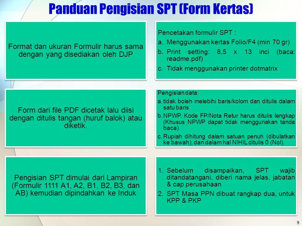 POKOK PERUBAHAN 20 1107 -Nomor FP yang diretur tidak diisi 1111 FP yang PPN-nya hanya dikreditkan sebagian (PMK 78/PMK.03/2010), dilaporkan di Formulir B1/B2 dan B3.