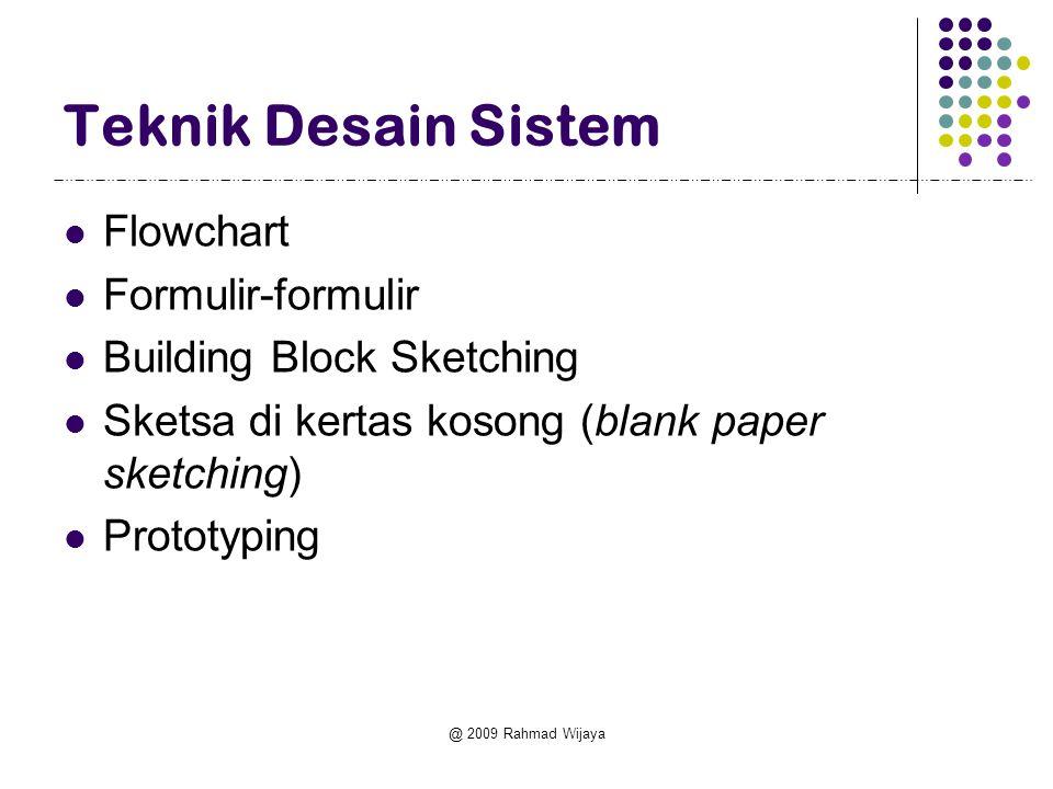 @ 2009 Rahmad Wijaya Teknik Desain Sistem Flowchart Formulir-formulir Building Block Sketching Sketsa di kertas kosong (blank paper sketching) Prototy