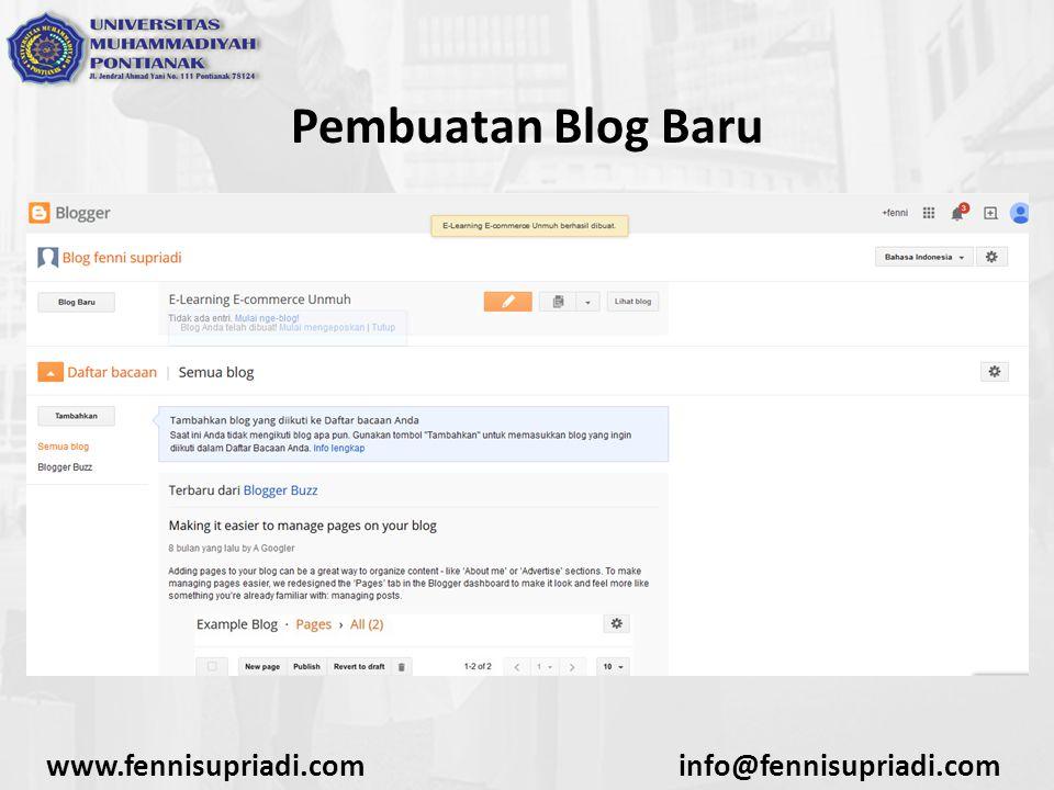 www.fennisupriadi.cominfo@fennisupriadi.com Pembuatan Blog Baru