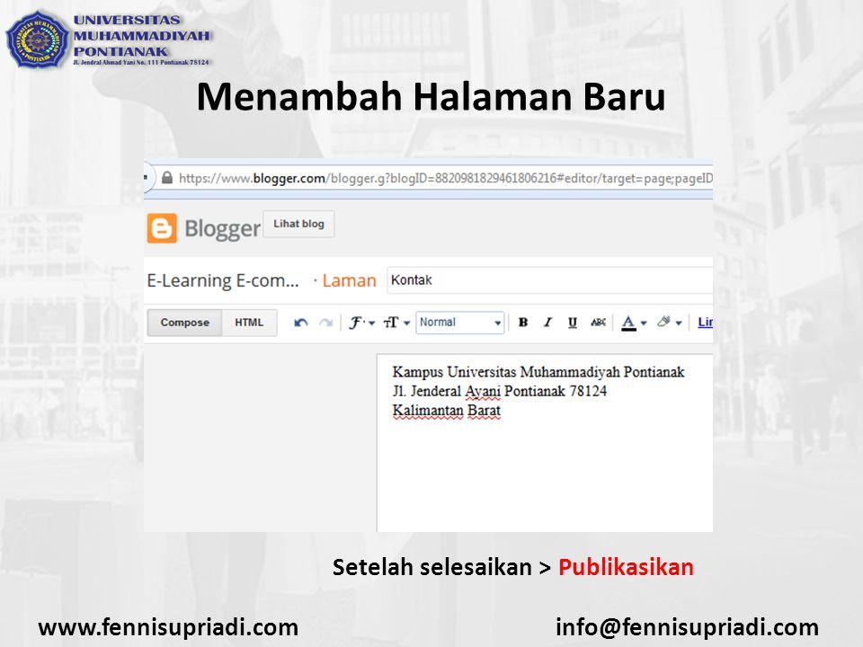 www.fennisupriadi.cominfo@fennisupriadi.com Menambah Halaman Baru Setelah selesaikan > Publikasikan