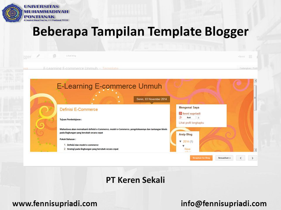 www.fennisupriadi.cominfo@fennisupriadi.com Beberapa Tampilan Template Blogger PT Keren Sekali