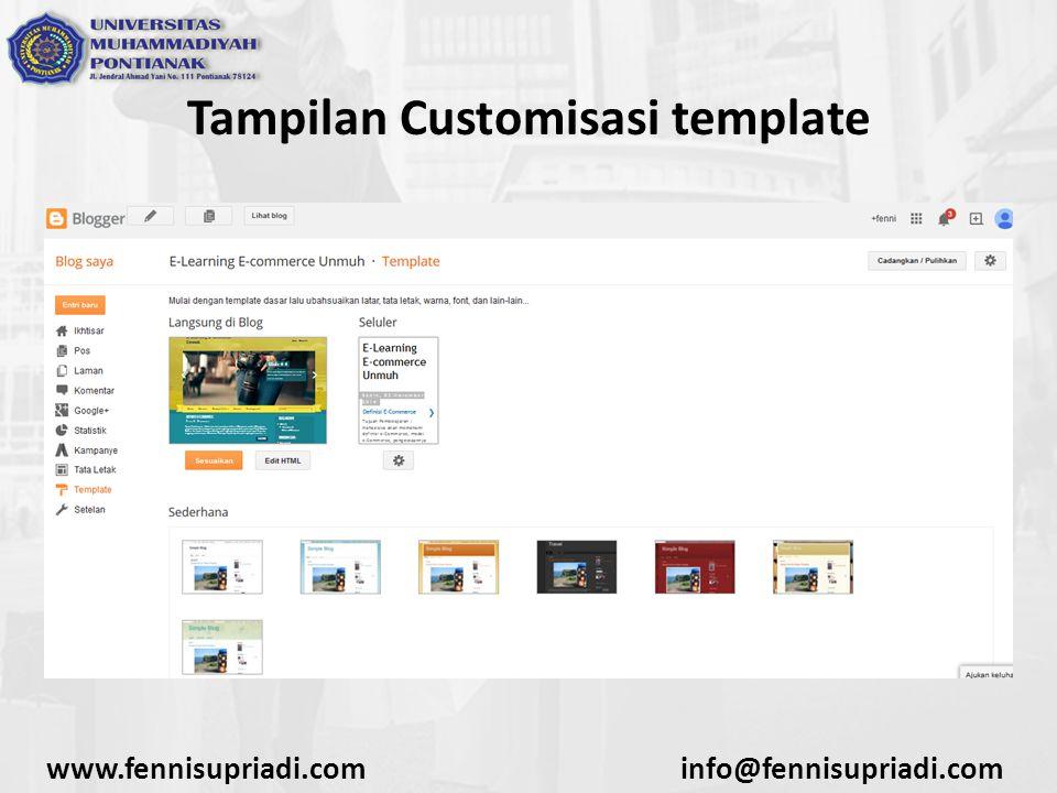 www.fennisupriadi.cominfo@fennisupriadi.com Tampilan Customisasi template