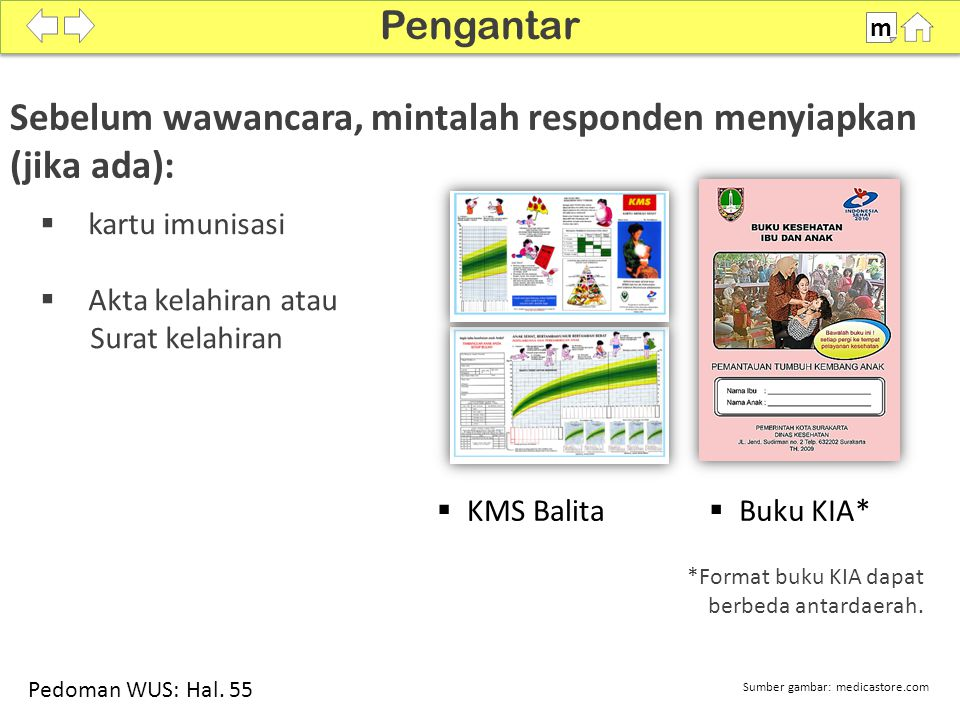 Sebelum wawancara, mintalah responden menyiapkan (jika ada): Pengantar m *Format buku KIA dapat berbeda antardaerah.  Buku KIA*  KMS Balita  Akta k