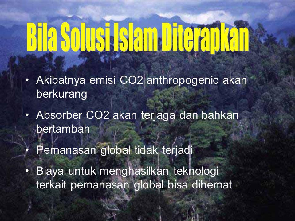 Akibatnya emisi CO2 anthropogenic akan berkurang Absorber CO2 akan terjaga dan bahkan bertambah Pemanasan global tidak terjadi Biaya untuk menghasilka