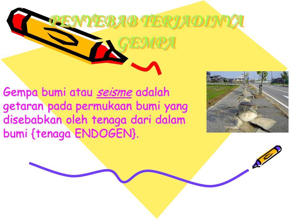 PENYEBAB TERJADINYA GEMPA Gempa bumi atau seisme adalah getaran pada permukaan bumi yang disebabkan oleh tenaga dari dalam bumi {tenaga ENDOGEN}.