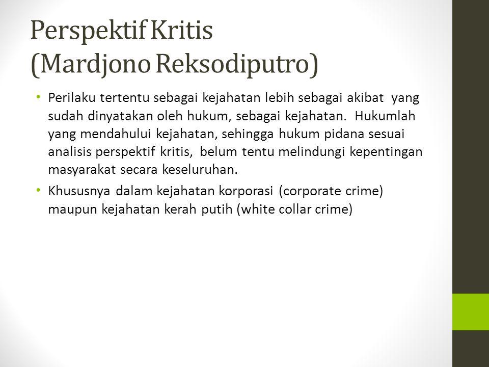 Perspektif Kritis (Mardjono Reksodiputro) Perilaku tertentu sebagai kejahatan lebih sebagai akibat yang sudah dinyatakan oleh hukum, sebagai kejahatan