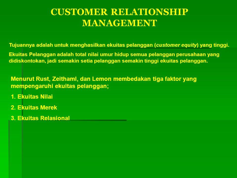 CUSTOMER RELATIONSHIP MANAGEMENT Tujuannya adalah untuk menghasilkan ekuitas pelanggan (customer equity) yang tinggi. Ekuitas Pelanggan adalah total n