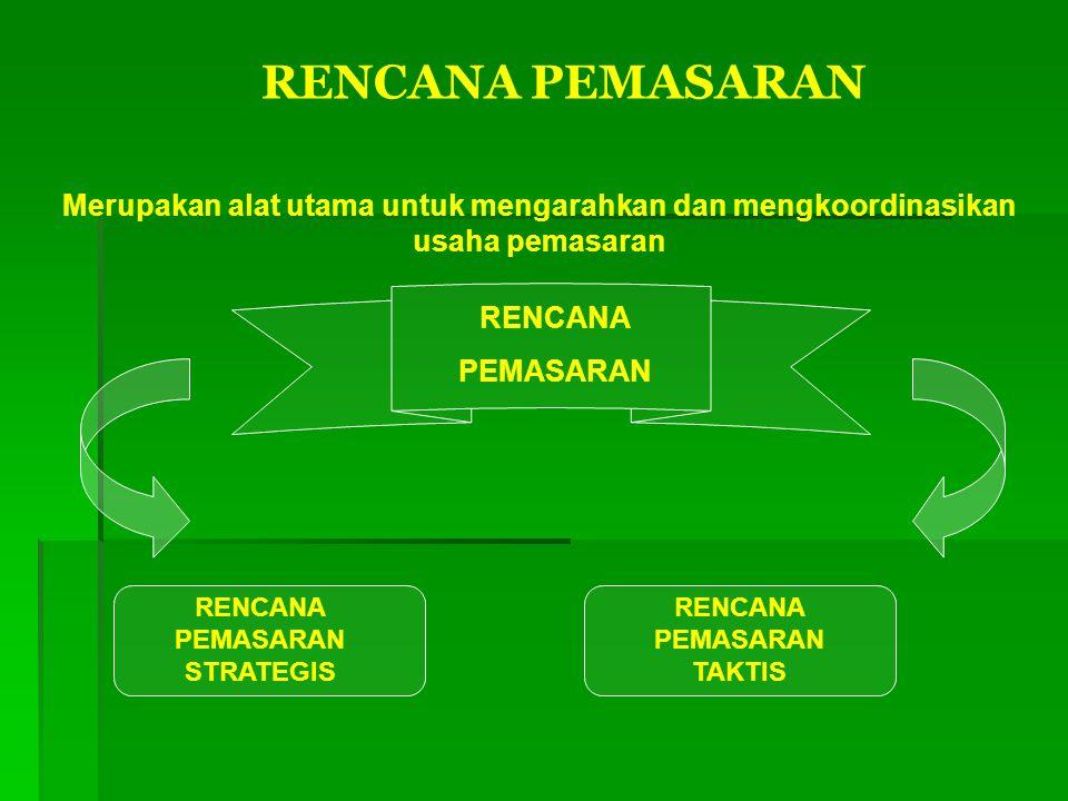 RENCANA PEMASARAN Merupakan alat utama untuk mengarahkan dan mengkoordinasikan usaha pemasaran RENCANA PEMASARAN RENCANA PEMASARAN STRATEGIS RENCANA P