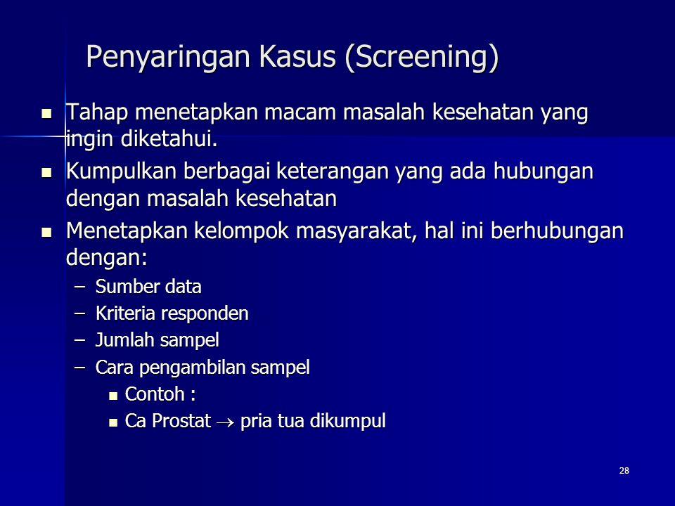 28 Penyaringan Kasus (Screening) Tahap menetapkan macam masalah kesehatan yang ingin diketahui. Tahap menetapkan macam masalah kesehatan yang ingin di