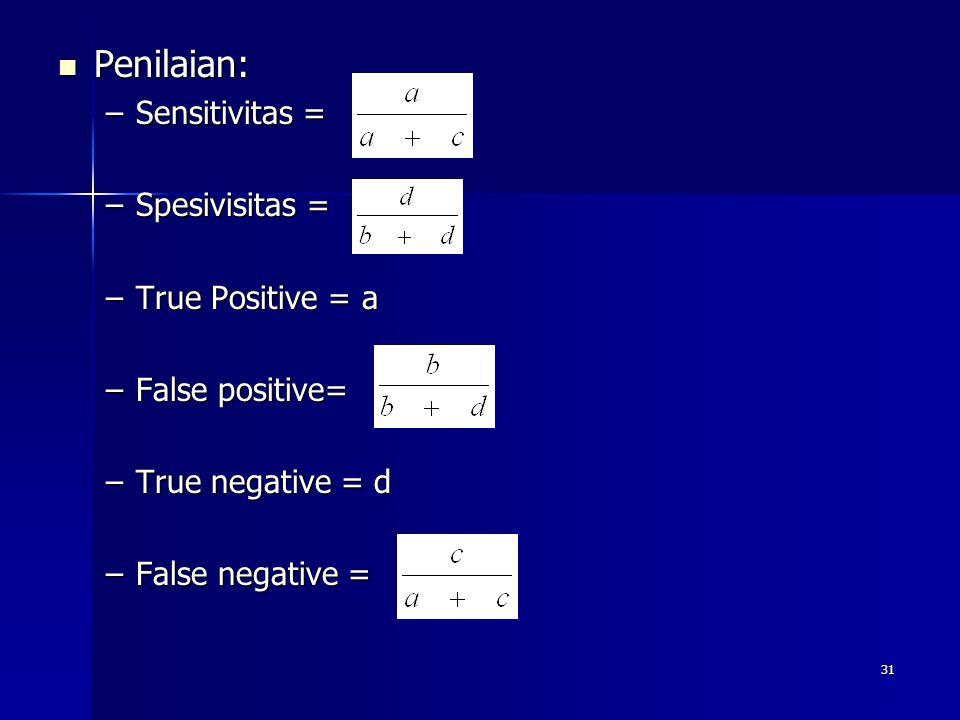 31 Penilaian: Penilaian: –Sensitivitas = –Spesivisitas = –True Positive = a –False positive= –True negative = d –False negative =