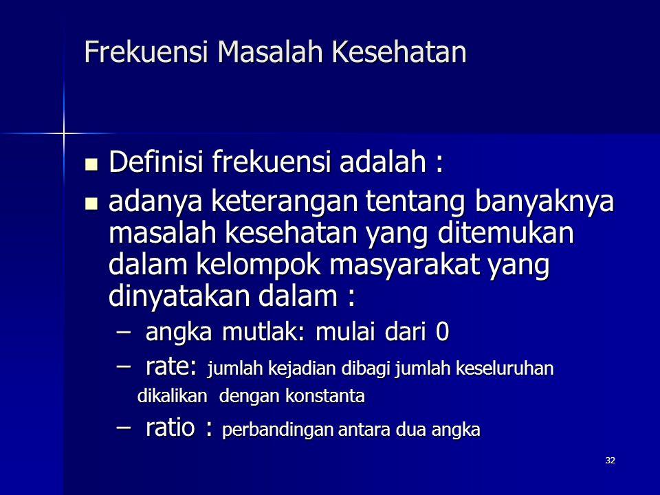 32 Frekuensi Masalah Kesehatan Definisi frekuensi adalah : Definisi frekuensi adalah : adanya keterangan tentang banyaknya masalah kesehatan yang dite