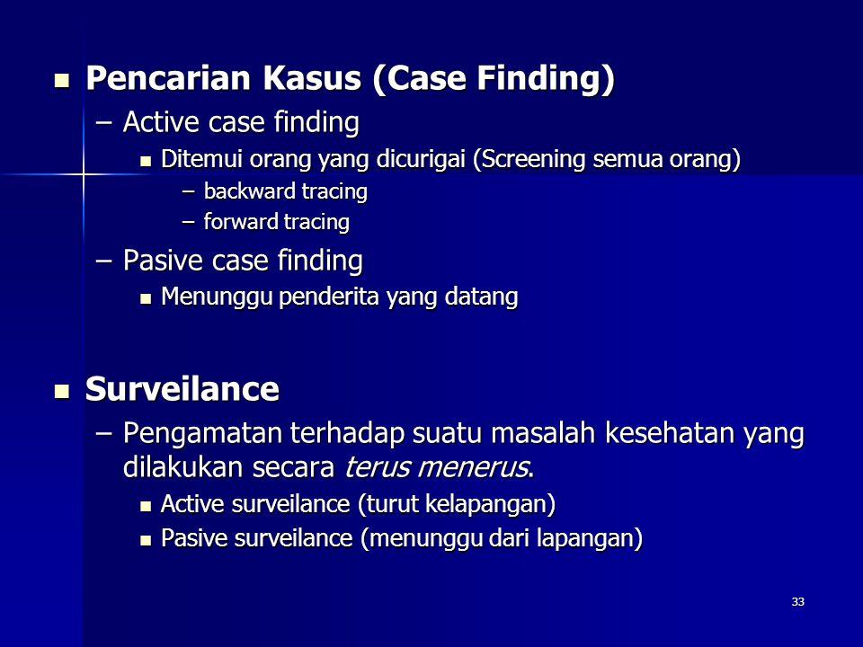 33 Pencarian Kasus (Case Finding) Pencarian Kasus (Case Finding) –Active case finding Ditemui orang yang dicurigai (Screening semua orang) Ditemui ora