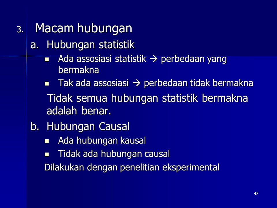 47 3. Macam hubungan a.Hubungan statistik Ada assosiasi statistik  perbedaan yang bermakna Ada assosiasi statistik  perbedaan yang bermakna Tak ada