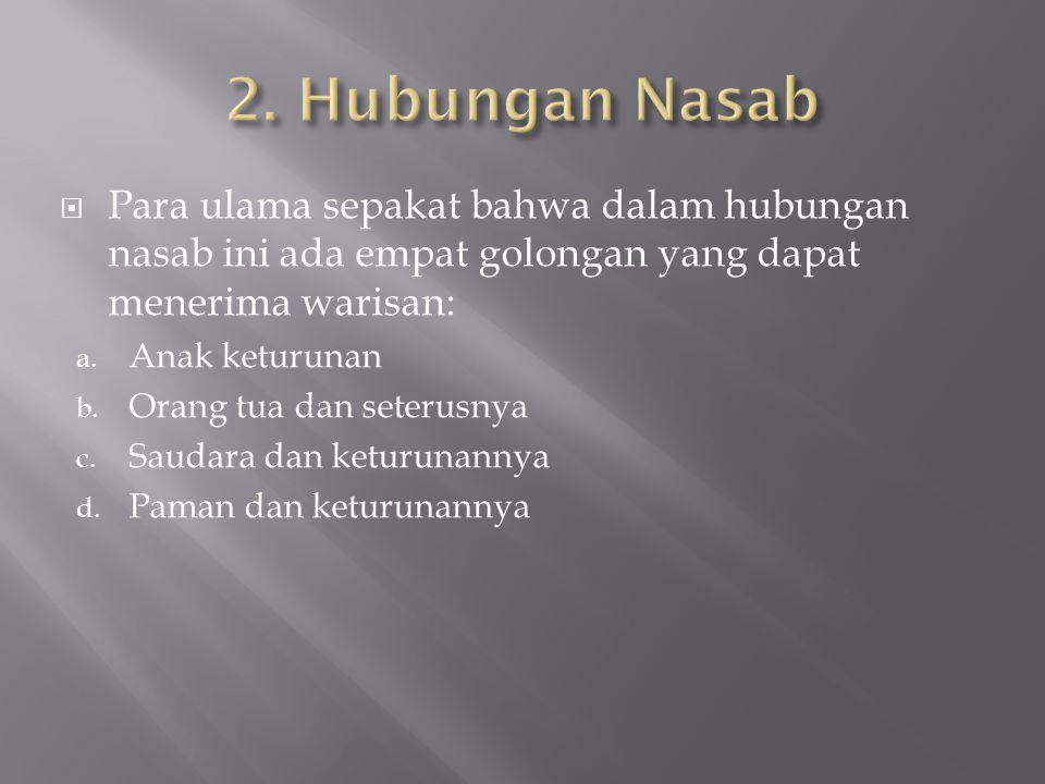  Para ulama sepakat bahwa dalam hubungan nasab ini ada empat golongan yang dapat menerima warisan: a.