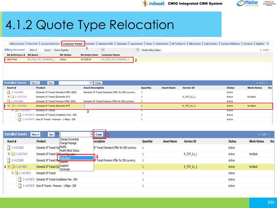 4.1.2 Quote Type Relocation 101