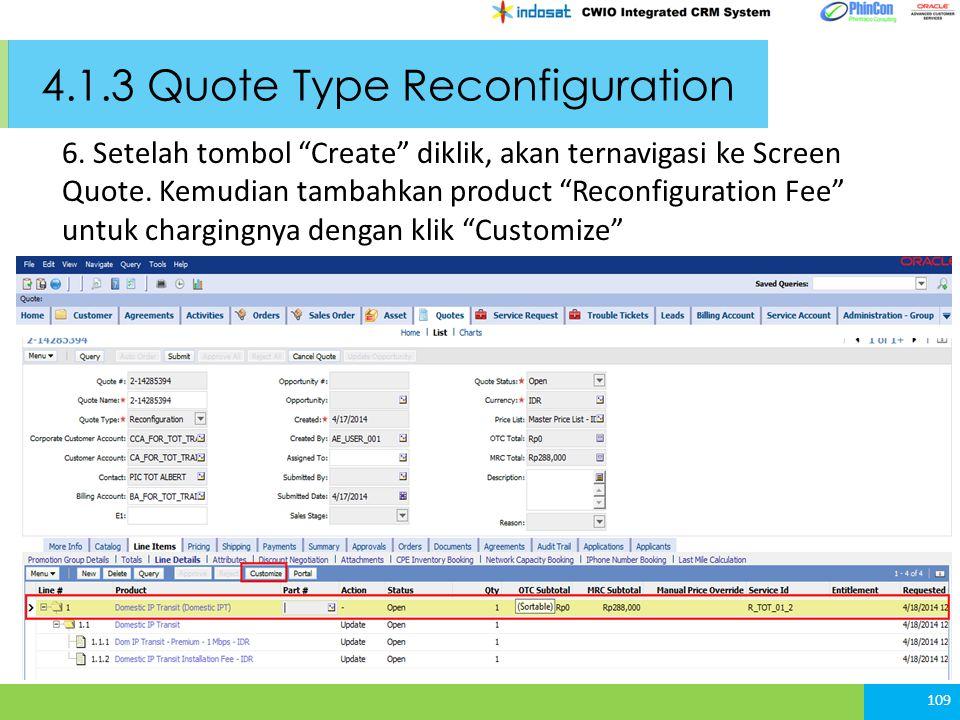 4.1.3 Quote Type Reconfiguration 109 6.