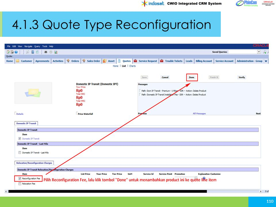 4.1.3 Quote Type Reconfiguration 110