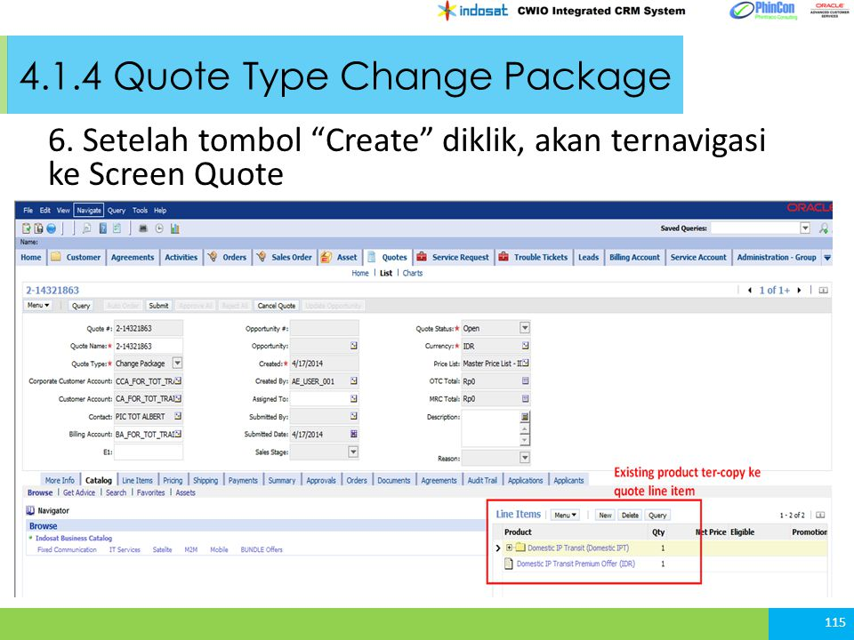 4.1.4 Quote Type Change Package 6.