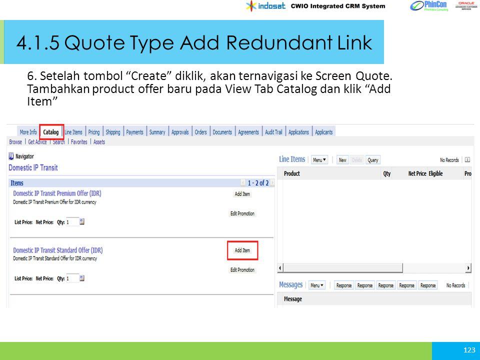 4.1.5 Quote Type Add Redundant Link 6.