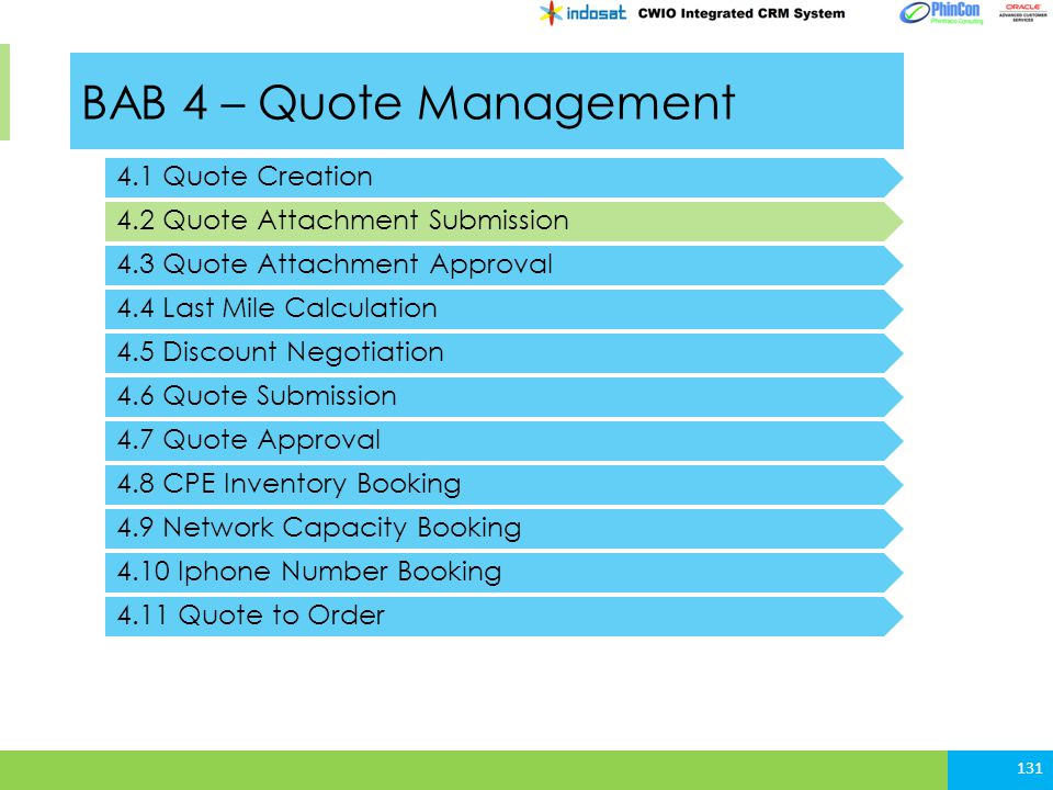 BAB 4 – Quote Management 4.1 Quote Creation 4.2 Quote Attachment Submission 131 4.3 Quote Attachment Approval 4.4 Last Mile Calculation 4.5 Discount Negotiation 4.6 Quote Submission 4.7 Quote Approval 4.8 CPE Inventory Booking 4.9 Network Capacity Booking 4.10 Iphone Number Booking 4.11 Quote to Order
