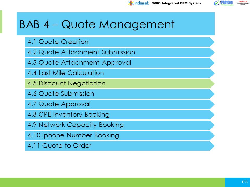 BAB 4 – Quote Management 4.1 Quote Creation 4.2 Quote Attachment Submission 155 4.3 Quote Attachment Approval 4.4 Last Mile Calculation 4.5 Discount N