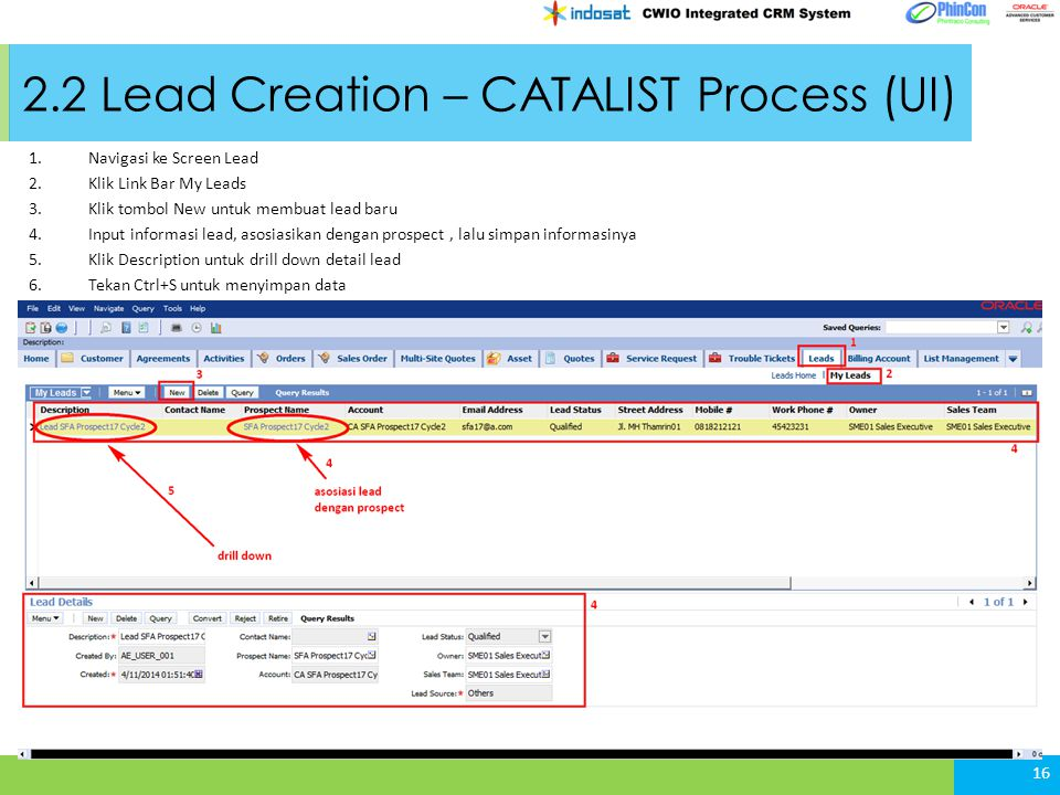 2.2 Lead Creation – CATALIST Process (UI) 16 1.Navigasi ke Screen Lead 2.Klik Link Bar My Leads 3.Klik tombol New untuk membuat lead baru 4.Input info