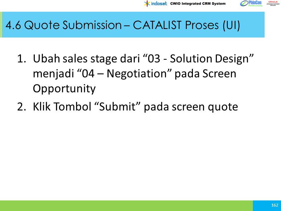 4.6 Quote Submission – CATALIST Proses (UI) 162 1.Ubah sales stage dari 03 - Solution Design menjadi 04 – Negotiation pada Screen Opportunity 2.Klik Tombol Submit pada screen quote
