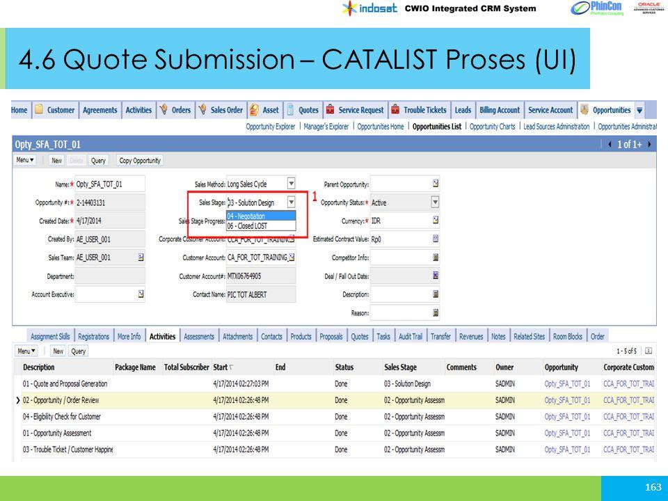 4.6 Quote Submission – CATALIST Proses (UI) 163