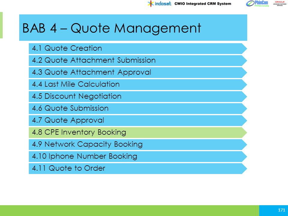 BAB 4 – Quote Management 4.1 Quote Creation 4.2 Quote Attachment Submission 171 4.3 Quote Attachment Approval 4.4 Last Mile Calculation 4.5 Discount N