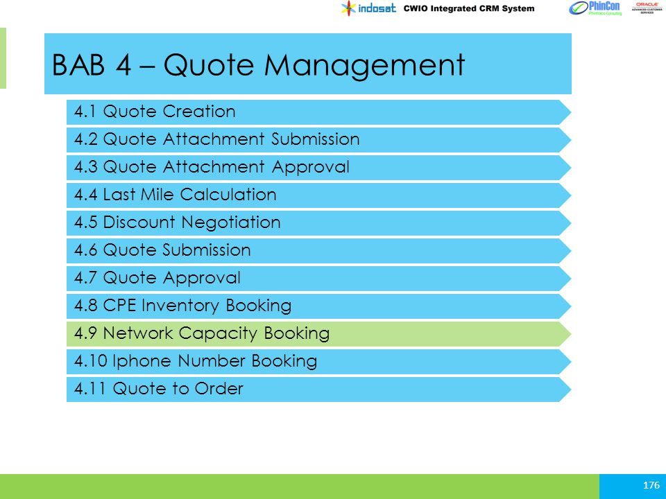 BAB 4 – Quote Management 4.1 Quote Creation 4.2 Quote Attachment Submission 176 4.3 Quote Attachment Approval 4.4 Last Mile Calculation 4.5 Discount N